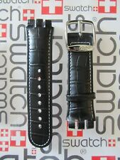Swatch Band Authentic Fits Irony Nabab 44mm Case 21mm Lugs Black Leather  NOS