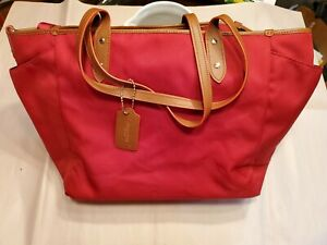 Coach Red Legacy Weekend Tote Purse Diaper Bag