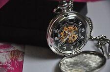 Vintage Skeleton Men's Mechanical Pocket Watch Stainless Steel Men Gift Box
