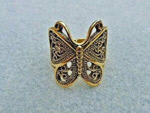 Butterfly Wrap Around Ring, Golden.  Adjustable.