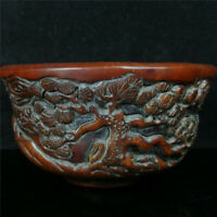 "4.72"" Folk collection ox horn Hand carved pine tree crane ox horn bowl wine bowl"