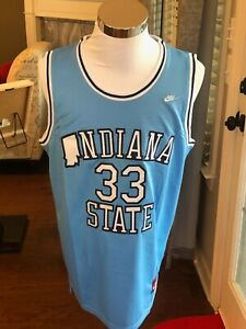 Indiana State Sycamores #33 Larry Bird Light Blue Throwback College Jersey