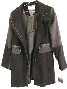 Kenzie Women's Color Block Wool Coat, Black/Denim, Medium