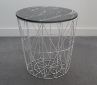 Modern Retro White Metal & Black Marble Wood Lamp Coffee End Side Storage Table