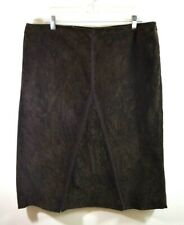 Halogen Womens Leather Brown Straight Skirt 14