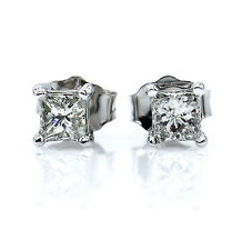 8772c4de9 0.36CT PRINCESS CUT DIAMOND STUD POST PUSH BACK STUD EARRINGS 14K WHITE GOLD