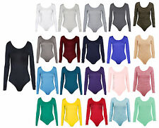 Womens Long Sleeve Stretch Bodysuit Ladies Leotard Body Top Tshirt 8-26
