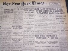 1930 JULY 25 NEW YORK TIMES - QUAKE DEATHS OFFICIALLY AT 1800 - NT 4940
