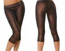 SeXy MiSS Damen Hüft Leggings glamour metallic glitzer Edel Look Capri XS S NEU