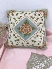 """Vtg Finished Needlepoint Accent Pillow Pink Roses Floral Throw 12"""" Pastel Blue"""