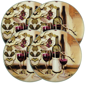 "Set of 4 STEEL STOVETOP BURNER COVERS (2-10"",2-8"")WINE &GRAPES,RIPE FROM VINE,RK"