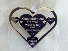 Just married Wedding Day heart Horse Shoe Personalised. gift. MUM & DAD