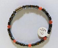 """Magnetic Hematite Healing Womens Red/Orange Crystal Bead Bracelet 6.5"""""""