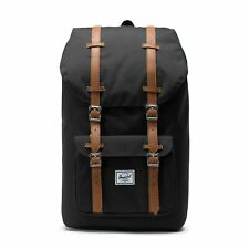 Herschel Little America 25 Litre Back Pack Ruck Sack Black Tan Synthetic Leather