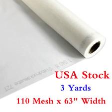 Usa 3 Yards 110 Mesh 63 White Silk Screen Printing Fabric Silkscreen Film