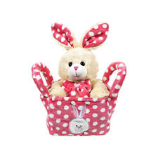 28 cm Peluche PALS Stuffed Plush Easter Bunny Rabbit & Rosa Cesto Morbido Orsacchiotto