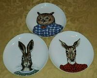 West Elm Rachel Kozlowski Dapper Animal SET OF 3 SALAD PLATES 8 3/4""