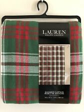 "Ralph Lauren Christmas Green Red Plaid Shower Curtain 70"" x 72"" NWT"