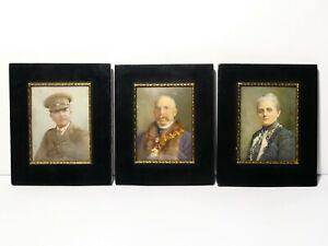 3 x Signed Portrait Miniatures John R. Butterwick Hartlepool, Wife & RASC Son