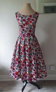 Ladies Size 12 Rockabilly 1950's Style Lana Pink Spanish Rose Dress By Lindy Bop