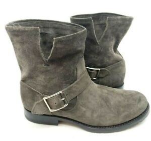 Frye Gray Suede Ankle Boot Pull On Adjustable Buckle Rubber Sole Size 8