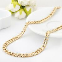 "18K Gold Filled Ladies Mens 7MM Classic Solid Curb Chain Necklace 20"" Stunning"