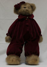 The Bearington Collection Bear in Burgundy Velvet Jumpsuit with Ear Bow