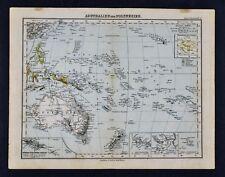 1893 Stieler Map Australia & Polynesia Oceania New Zealand Tahiti Hawaii Fiji