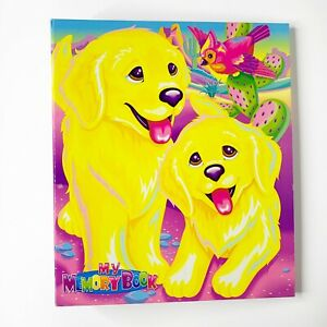 Lisa Frank My Memory Book Neon 3 Ringer Binder Golden Retriever Puppies Vintage!