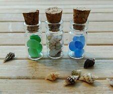 Fairy garden accessories x3 miniature glass bottles mini shells and seaglass