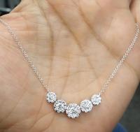 DEAL!1.30CT GENUINE CLUSTER ROUND DIAMOND LADIES  NECKLACE 14K YELLOW GOLD.
