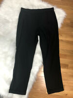 New J Jill Linen Stretch Pants Womens M Black Elastic Waist Cuffed Casual