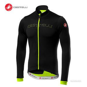 Castelli FONDO Thermal Long Sleeve Full Zip Cycling Jersey : BLACK/YELLOW FLUO