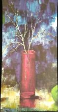 Gorgeous Retro MCM LITHOGRAPH Branches in Red Glass Vase 24x12 UNFRAMED CANVAS