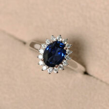 Diamond Engagement Ring 14K White Gold Gorgeous 3.00Ct Certified Blue Sapphire &