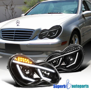 For 2001-2007 Mercedes Benz 01-07 W203 C-Class Projector Headlights LED Bar Pair