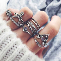 10Pcs/Set Retro Arrow Moon Midi Finger Knuckle Rings Boho Fashion Jewelry