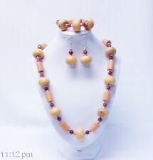 Chunky Mustard Yellow Donut/Barrel Wood Bead Necklace/Bracelet/Earrings