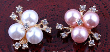 7/8 inch Metal Rhinestone Pearl Buttons( 2 pieces pink and white)
