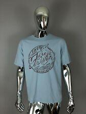 New Cremieux Premium Denim Fire Water Moonshine Blue Graphic T-Shirt Size L
