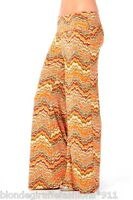 Orange Multi Wave Zig-Zag Chevron Fold Over Waist/Wide Leg Long Pants/Palazzo