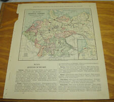 1887 Harpers Antique COLOR Map/GERMAN EMPIRE, NETHERLANDS, BELGIUM