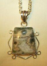 Striking 925 Silver Open Varigated Pearl Gray & Sand Jasper Pendant Necklace