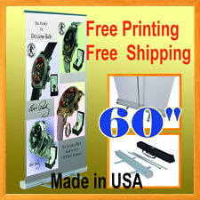 """60"""" Wide Retractable Roll Up Banner Stand Trade Show Pop FREE GRAPHIC PRINTIN"""