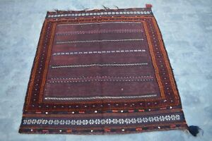 3'10 x 4'5 Feet Handmade Afghan Square Tribal Dastarkhuwan 100% Wool Traditional