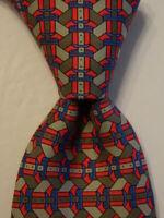 HERMES 7214 UA Men's 100% Silk Necktie FRANCE Luxury BELT BUCKLE Gray/Red EUC