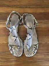 Devi Kroell Python Flat Sandals - Off White and Beige - Size 39