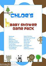 Juego Completo Pack En Cd   Azul Animal   Personalizado Baby Shower Juegos   favor Tag
