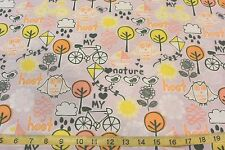 Hoot Owl Flowers Trees Kite Bicycle I Love My Bike Cotton Flannel Pink BTY