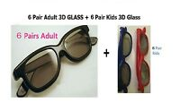 6 Pairs Adult +6 Kids(gift)  Passive 3D Glasses work for VIZIO LG Passive 3D TV